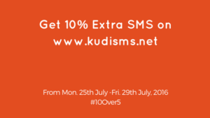 Get 10% Extra SMS on www.kudisms.net